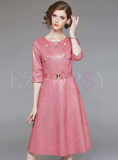 Chic PU O-neck Half Sleeve Tie Waist Skater Dress