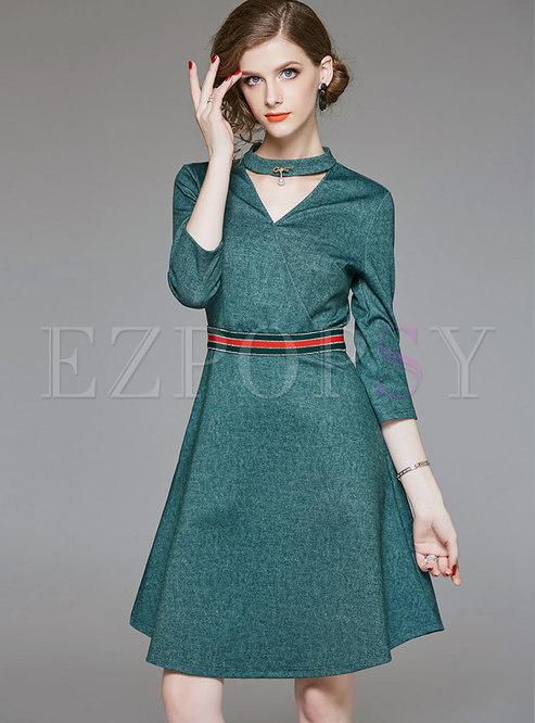 V-Neck a Line Dresses with Pockets