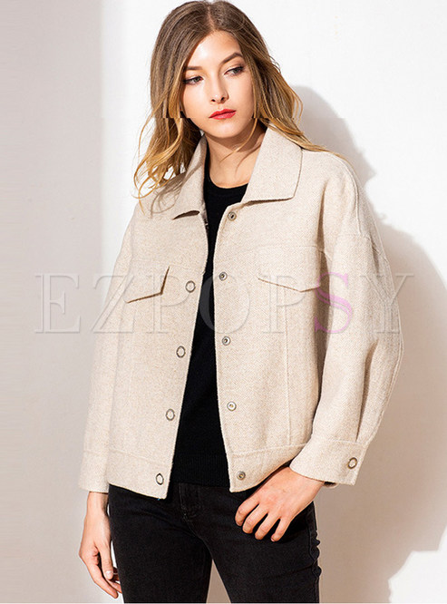 Turn Down Collar Single-breasted Wool Blended Coat