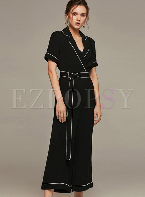 Stylish Notched Loose Tie-waist Jumpsuits