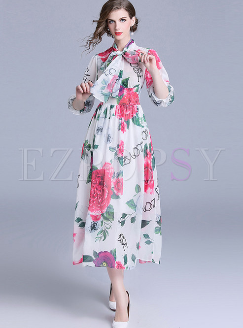 Bohemian Three Quarters Sleeve Tied Chiffon Maxi Dress