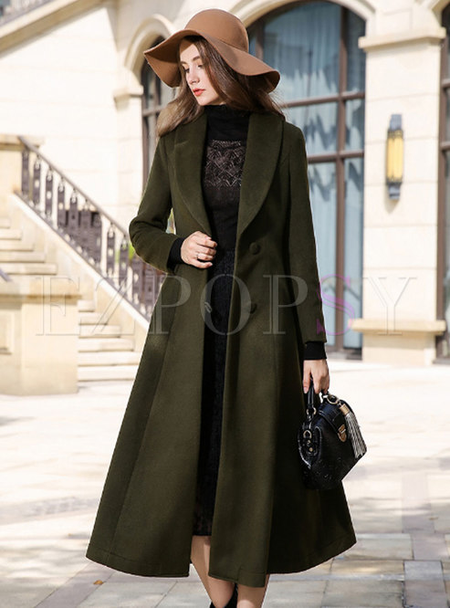 Lapel Wool Blend Straight Long A Line Overcoat