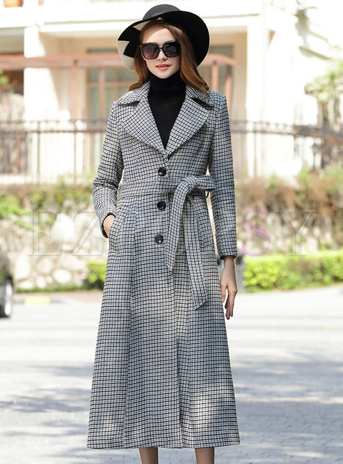 Light Grey Houndstooth Slim Single-breasted Wool Coat