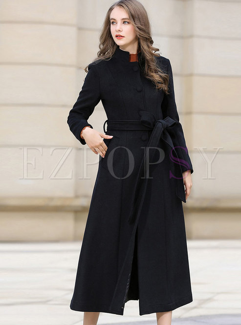 Pure Color Stand Collar Belted Slim Long Coat
