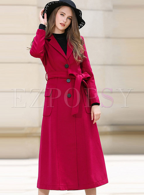 Rose Red Slim Long Overcoat With Pockets