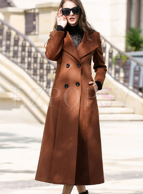 Camel Double-breasted Pocket Slim Long Peacoat