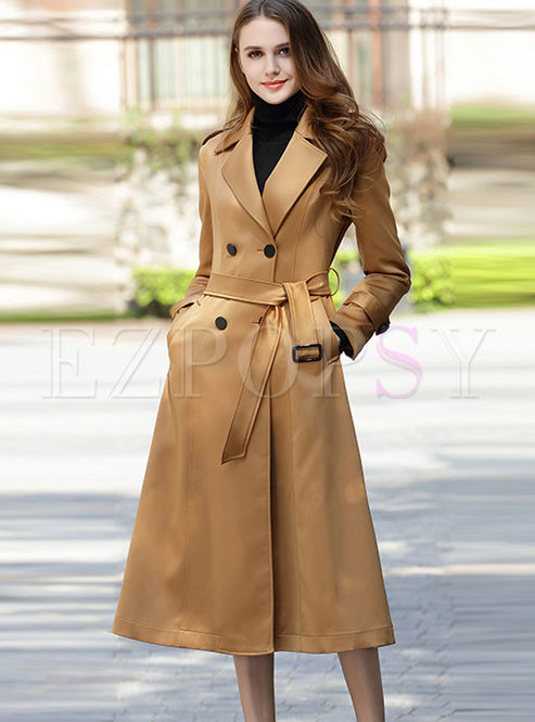 Pure Color Belted Turn Down Collar Slim Trench Coat