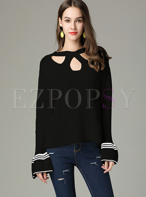 Sexy Hollow Out Irregular Neck Flare Sleeve Sweater