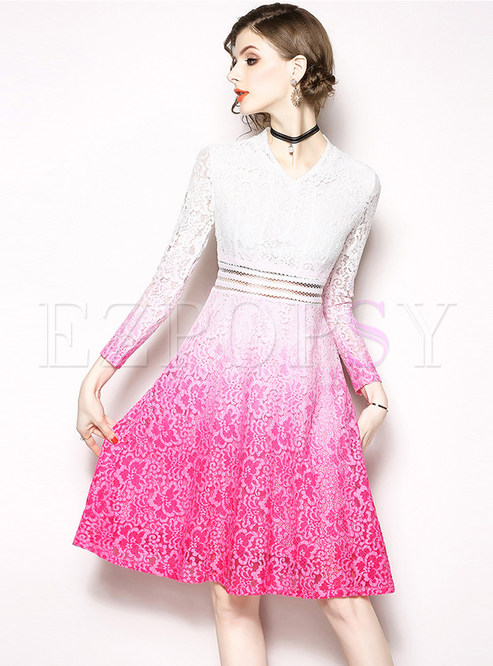 Fashion Color-blocked Long Sleeve Lace Skater Dress