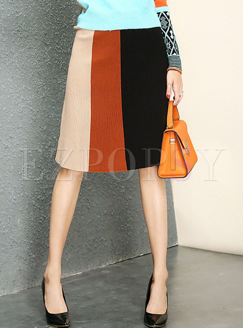 Autumn Trendy Multicolor Big Hem Knitted Skirt