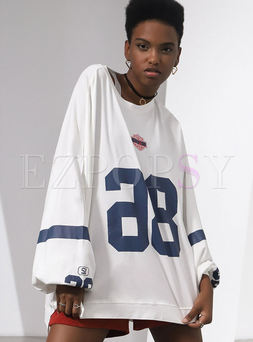 Trendy Print Puff Sleeve Asymmetric Loose Sweatshirt