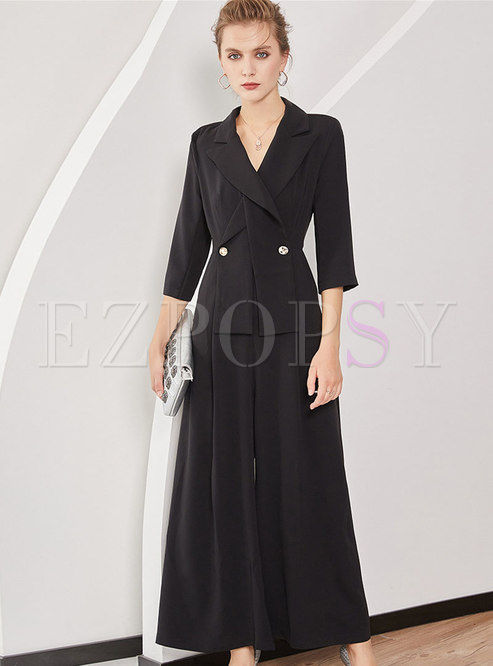 Autumn Black Notched Lapel Double-breasted Jumpsuit