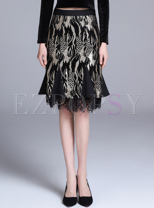 Trendy Embroidered Lace Patchwork Wrap Sheath Skirt