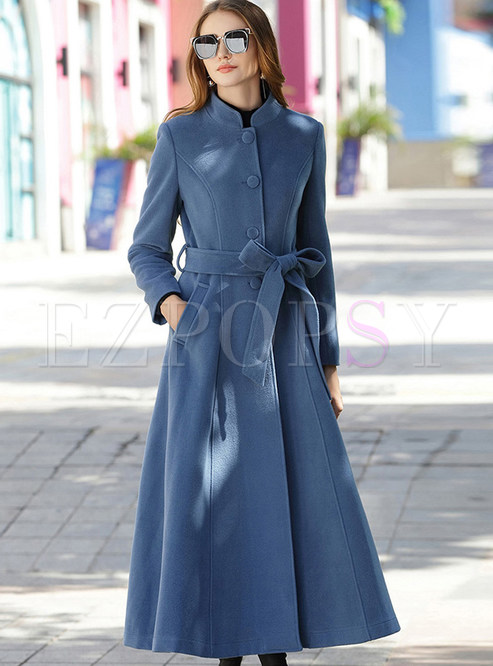 Stand Collar Thick Tied Single-breasted Slim Coat