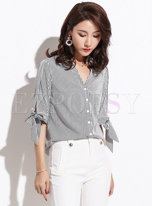 Striped Single-breasted Half Sleeve Bowknot Slim Blouse