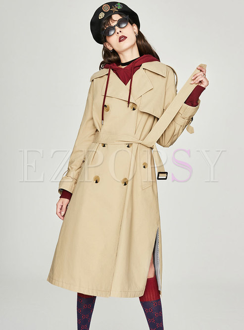 Solid Color Turn Down Collar Belted Double-breasted Trench Coat