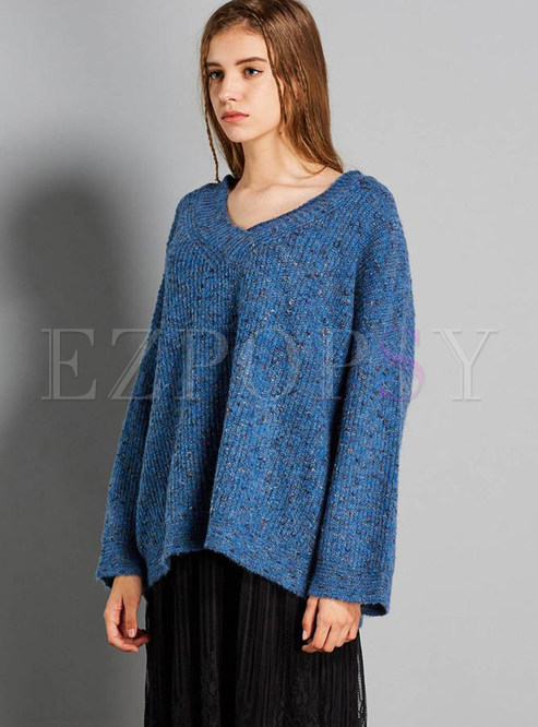 V-neck Long Sleeve Plus Size Pullover Sweater