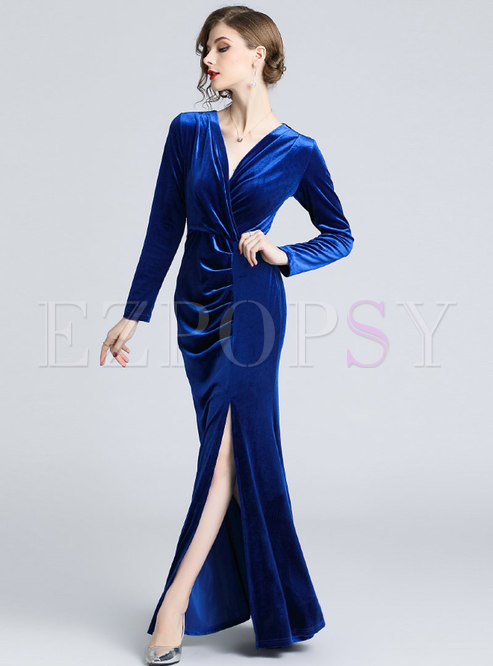 Sexy Sapphire Blue V-neck Velvet Maxi Evening Dress With Split
