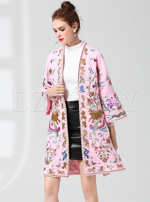 Ethnic Pink Embroidered Loose Woolen Coat