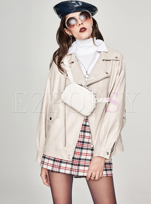 Pure Color Notched Zipper Short PU Coat