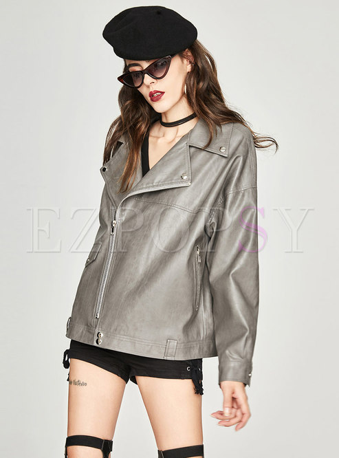 PU Black Notched Zipper Short Coat