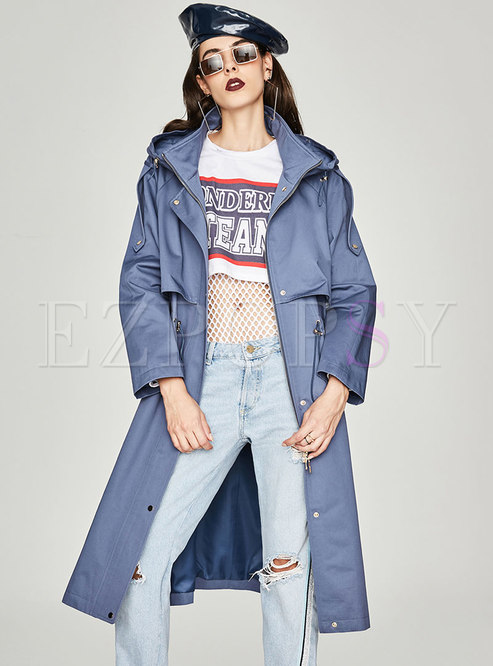Casual Hooded Gathered Waist Slim Trench Coat