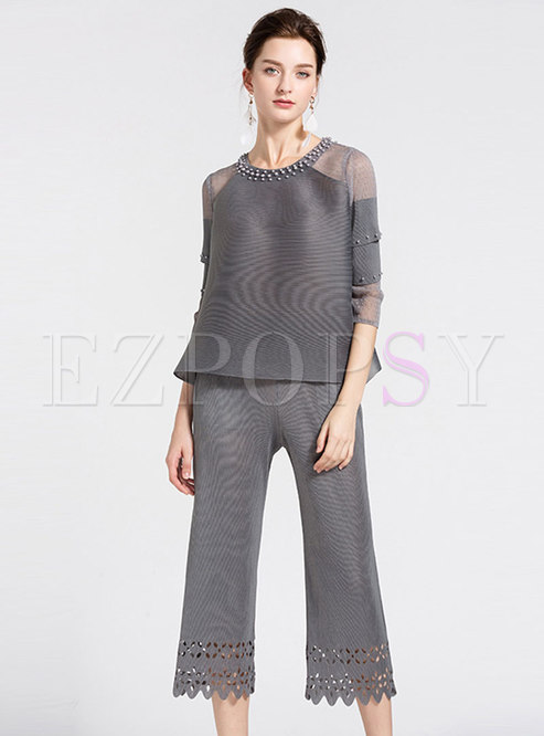 Casual Grey See-through Beaded Loose Top & Hollow Out Straight Pants