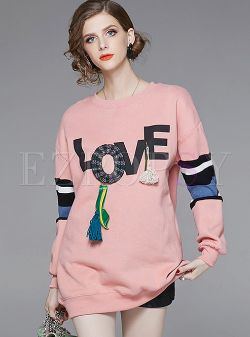 Color-blocked Long Sleeve Tassel Letter Print Sweatshirt