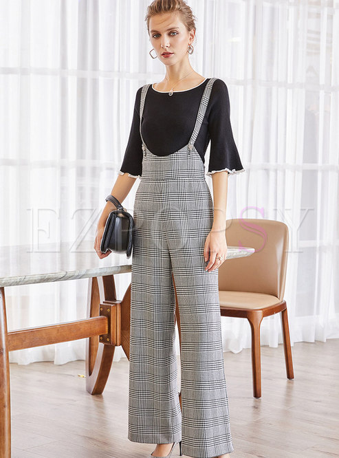 Black Half Sleeve T-Shirt & Houndstooth Straight Sling Pants