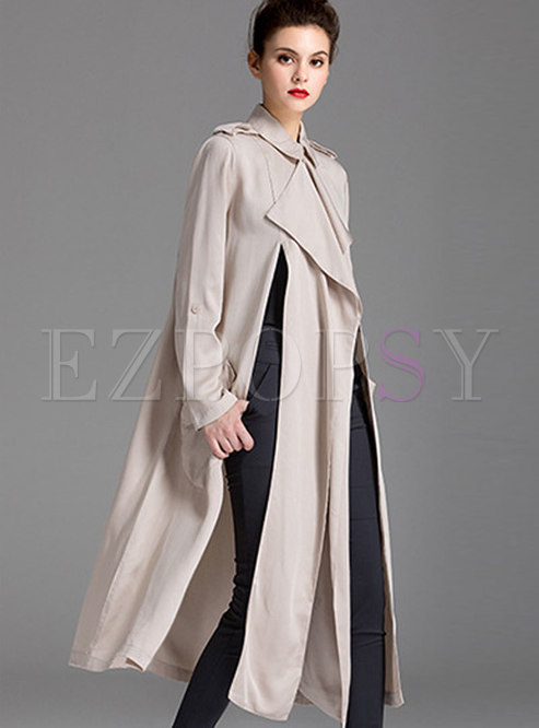 Autumn Beige White Stand Collar Long Open Trench Coat