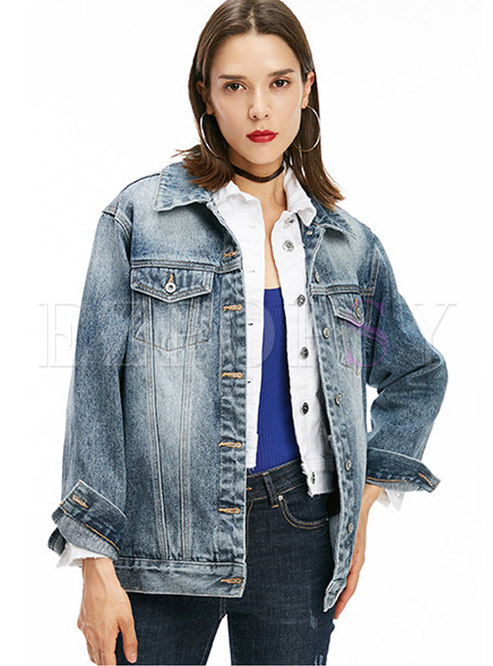 Letter Print Single-breasted Denim Jacket