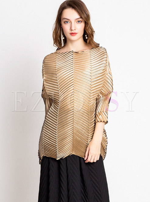 Trendy All Matched Shirred Plus Size Straight T-Shirt