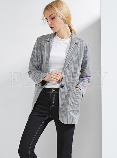 Retro Stylish Deep Grey Lapel Loose Buttoned Blazer