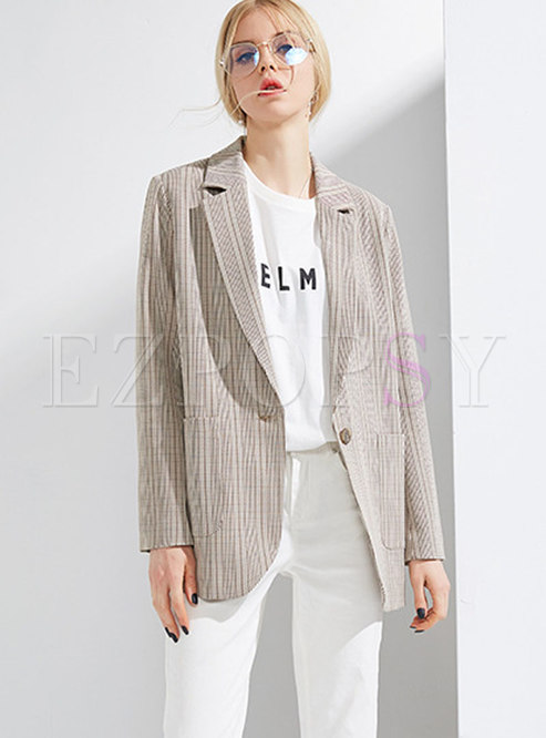 Stylish Vintage Khaki Lapel Straight Blazer