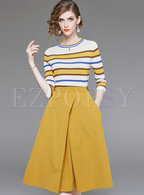 Fashion Striped Three Quarters Sleeve Two Piece Outfits