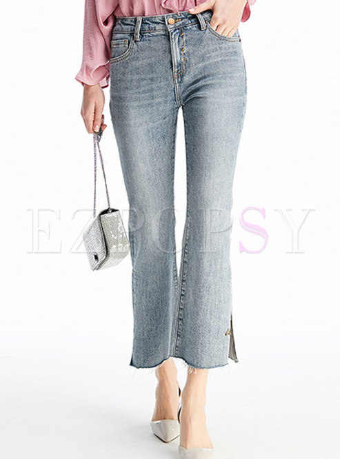 Denim High Waist Side-slit Flare Pants