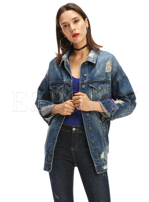 Denim Lapel Holes Single-breasted Denim Jacket