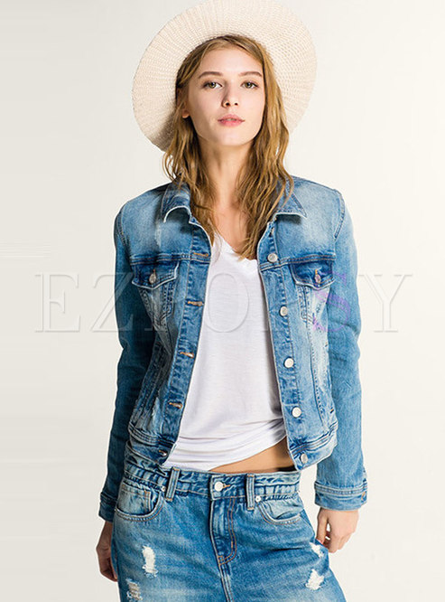 Light Blue Lapel Single-breasted Short Jacket