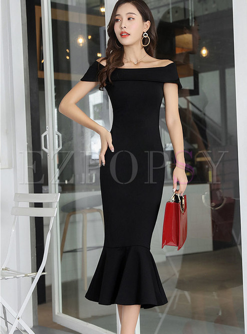 Pure Color Slash Neck Sheath Mermaid Dress