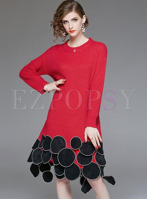 Stylish O-neck Circle Stitching Knitted Irregular Dress
