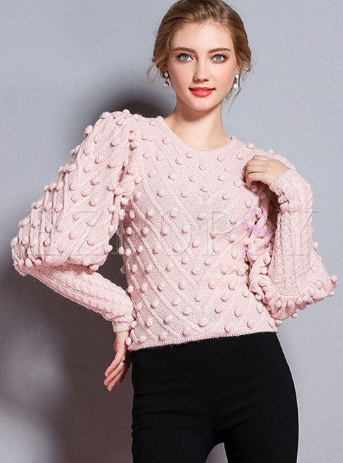 Trendy Lantern Sleeve Slim Pullover Knitted Sweater