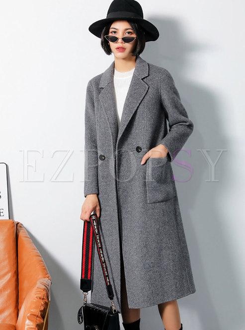 Chic Grid Turn Down Collar Slim Long Coat