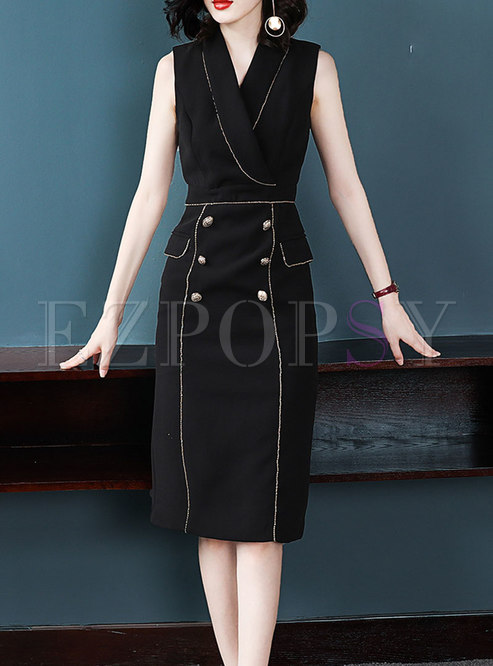 Fashion Elegant Turn-down Collar Wrap Bodycon Midi Dress