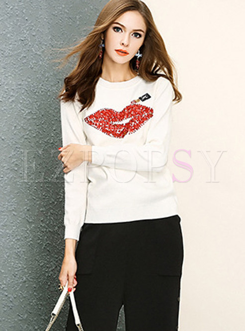 Chic Beaded Mouth Print Pullover Sweater