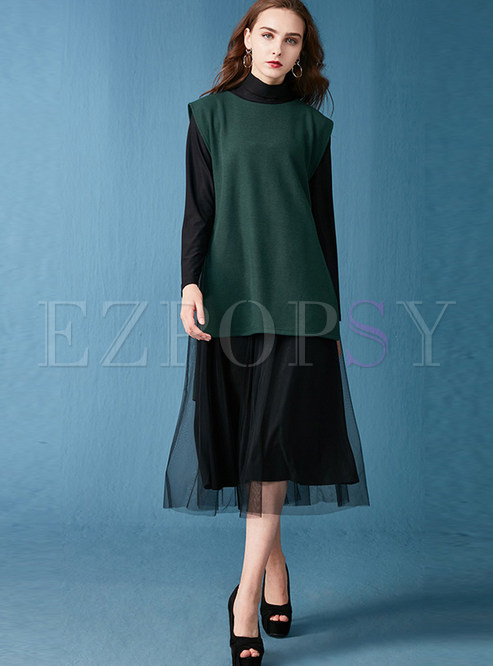 e234189332a Two-piece Outfits.   Loose Sleeveless Knitted Vest   Mesh Long Sleeve Dress
