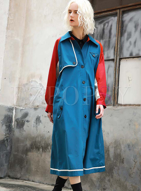 Color-blocked Single-breasted Trench Coat