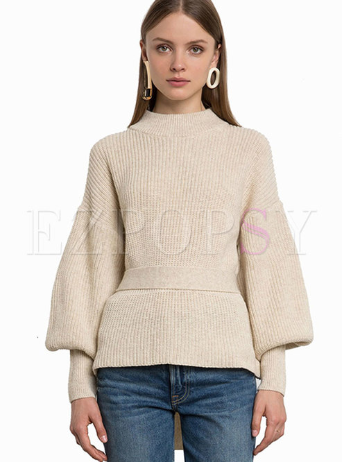 Autumn Brief Flare Sleeve Cut-back Belted Sweater