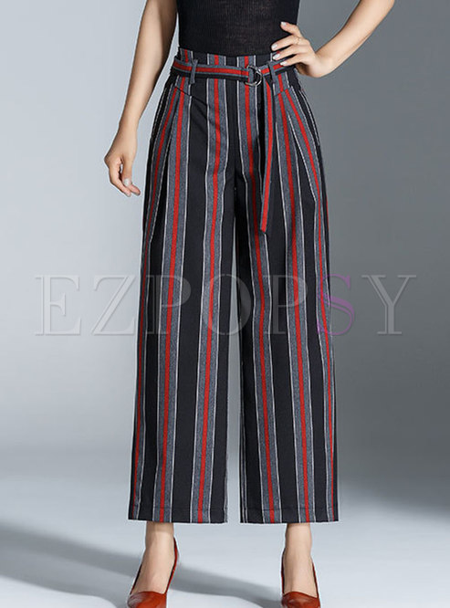 Stylish Striped Belted Straight Pants
