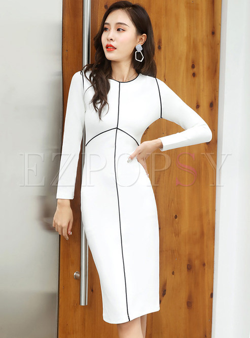 Color-blocked Long Sleeve O-neck Slim Bodycon Dress