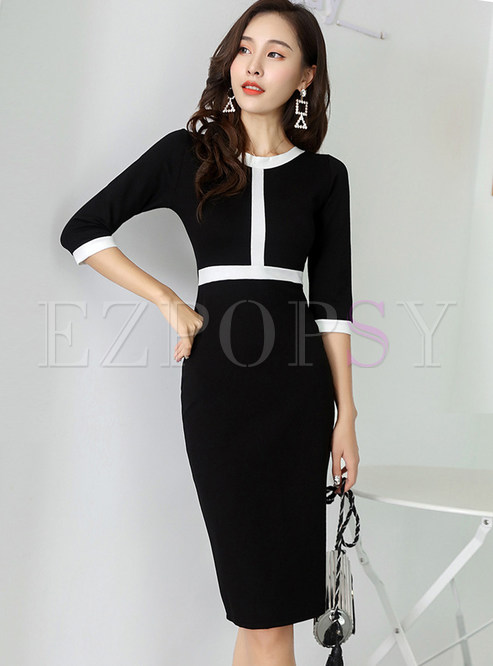 Color-blocked High Waist Three Quarters Sleeve Slim Dress